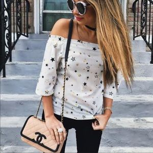 Tops - Star off shoulder top with Bow